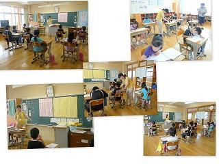 3年生の授業を全職員で参観しました。(職員研修)\