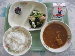 シーフードサラダとカレーライス