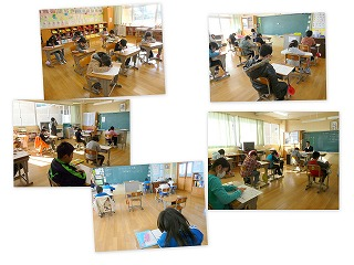 3年生以上の教室では、テストが行われました。\