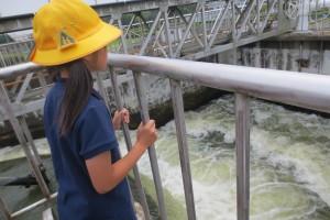 着水井は凄い迫力です。直径2mぐらいの管で北浦の水を吸い上げます。\