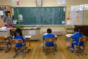 1年生は国語を勉強していました。\
